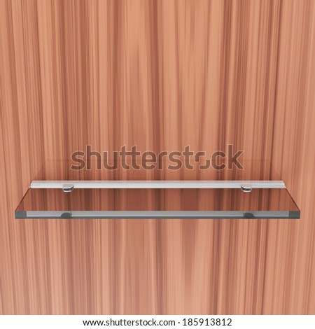 Glass Shelf on wooden background