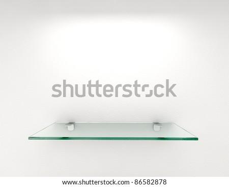 glass shelf with lighting on white wall - stock photo