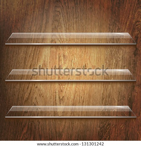 Glass Shelves On Wooden Background