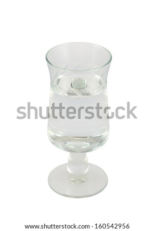 Glass shot of vodka isolated over white background - stock photo