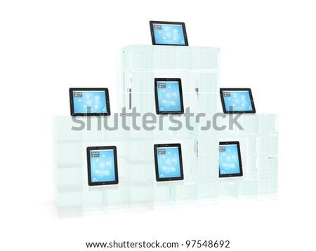 Glass showcase with tablet pc on white background - stock photo