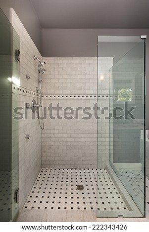 Glass shower with white marble.  - stock photo