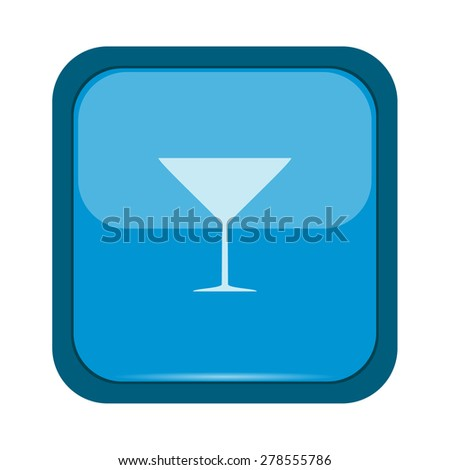 Glass silhouette on a blue button - stock photo