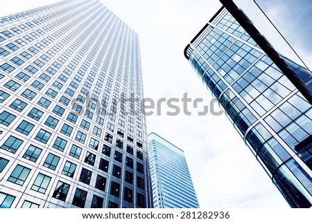 Glass Skyscrapers in the City of London, Blue toned - stock photo