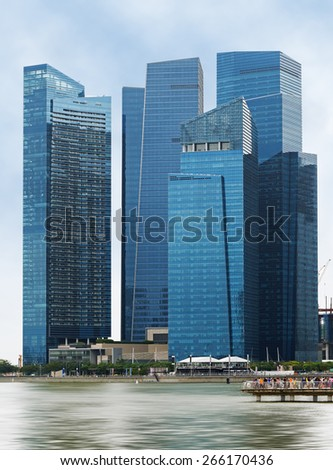 glass skyscrapers overlooking the bay of Singapore - stock photo