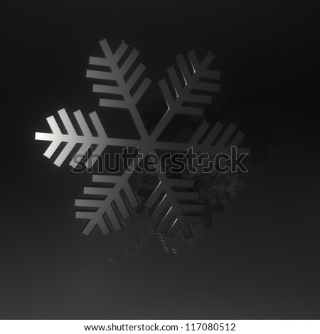 Glass snowflake with mirrors on black background - stock photo