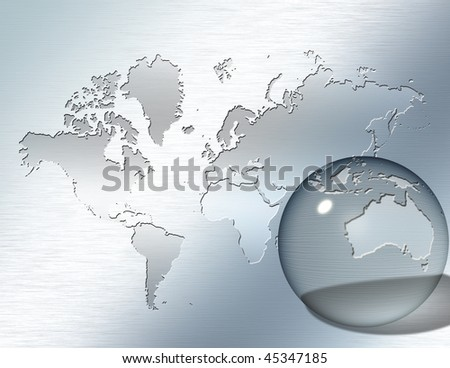 Glass sphere focus on Australia - stock photo