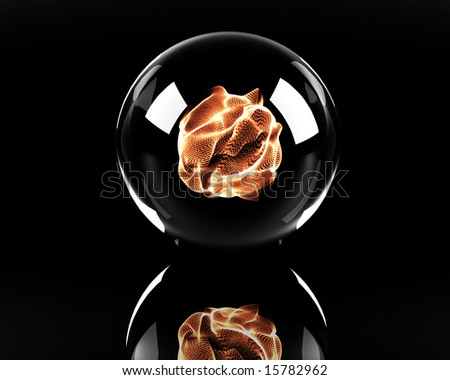 glass sphere with fire ball inside - stock photo