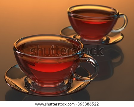 glass teacup - stock photo
