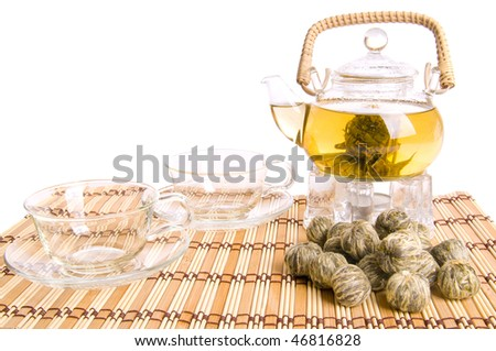 glass teapot and two cup on white background , isolated