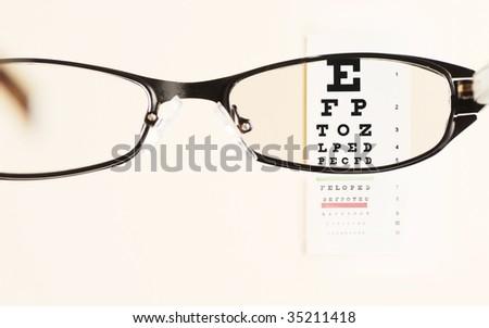 glass  testing  on eye exam chart - stock photo