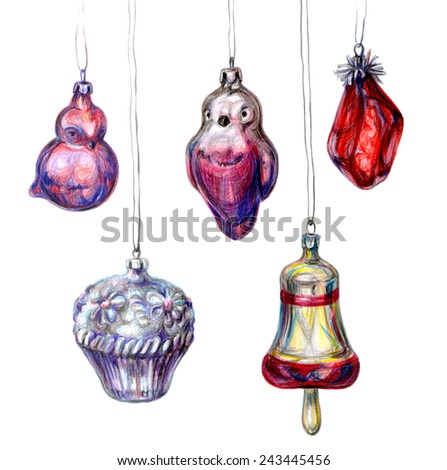 Glass toys for new year and christmas tree. Hand drawn color pencil pictures of birds, bell, cupcake, crystal - stock photo