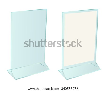 Glass transparent advertising table stand for paper sheet isolated on white background - stock photo