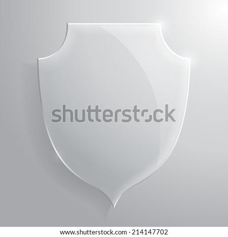 Glass transparent shield. Raster version of the illustration. - stock photo