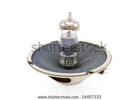 glass vacuum radio tube and speaker isolated on white background - stock photo