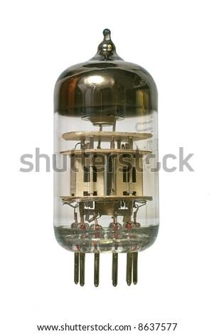 Glass vacuum radio tube. Isolated image on white background - stock photo