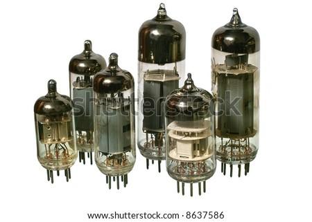 Glass vacuum radio tubes. Isolated image on white background - stock photo