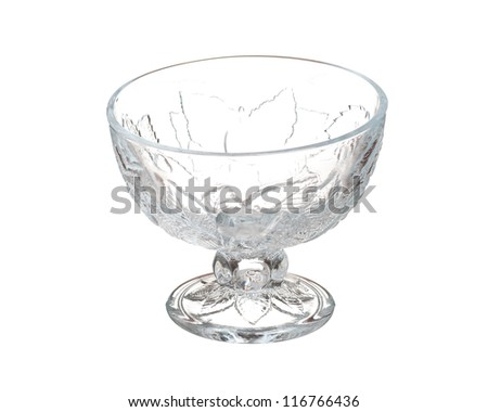 Glass vase for ice-cream or dessert isolated on white background - stock photo