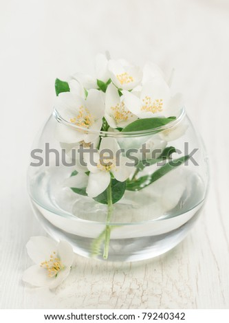 Glass vase with jasmine on wooden background