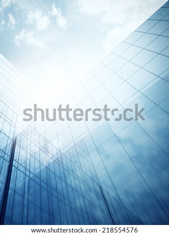 glass wall of modern skyscraper - stock photo