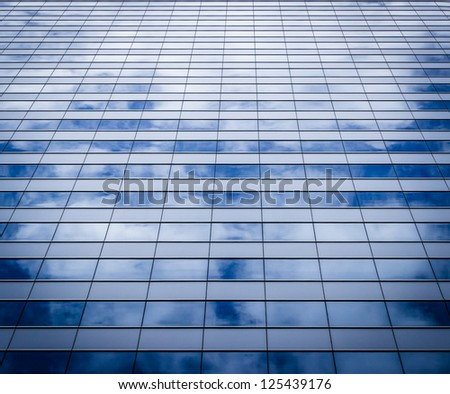 glass wall of office with reflection