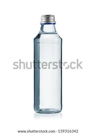 Glass water bottle - stock photo
