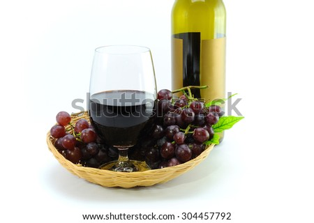 Glass wine grapes and grape place on white background