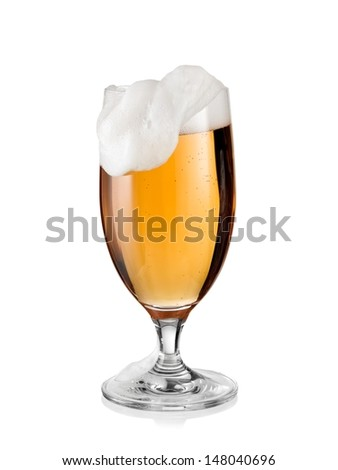 Glass with beer and froth