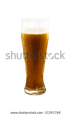 Glass with beer isolated on the white