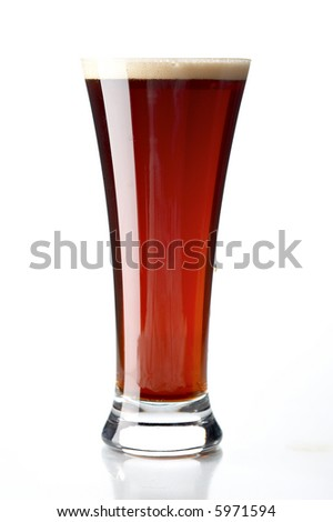 glass with beer on the white background - stock photo