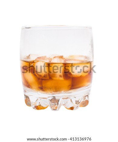 Glass with Coca and ice on a white background