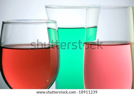 Glass with Colorful Juice on White Background