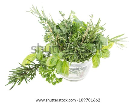 Glass with fresh Herbs isolated on white