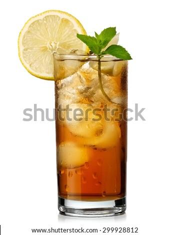 Glass with ice tea - stock photo