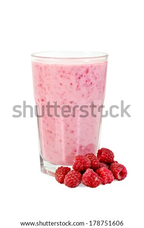 Glass with milkshake, raspberry isolated on white background - stock photo