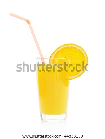 Glass with orange juice on a white background