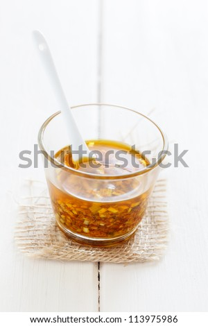 Glass with Oriental chermoula. - stock photo