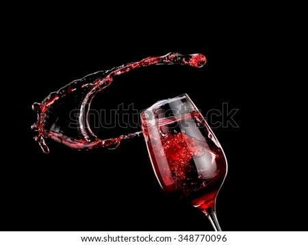 Glass with red wine up - stock photo