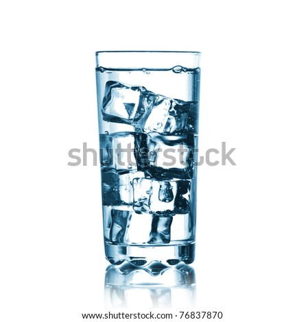 Glass with water and  ice cubes. on white background - stock photo