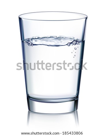 Glass with water isolated. Illustration - stock photo