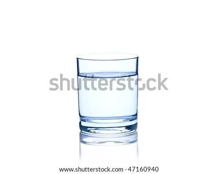 glass with water isolated on white - stock photo
