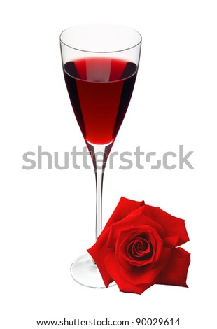 Glass with wine and red rose isolated on white - stock photo