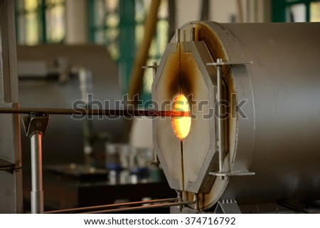 Glass work   Glass melting electric furnaces (Side) - stock photo