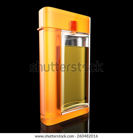 glassed perfume bottle with yellow frame - stock photo