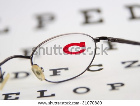 glasses an eye chart - stock photo