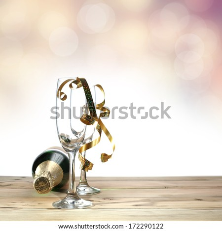 glasses and botle  - stock photo