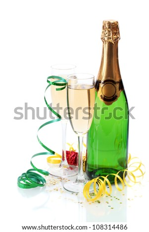 glasses and bottle of champagne, gifts and serpentine isolated on a white - stock photo