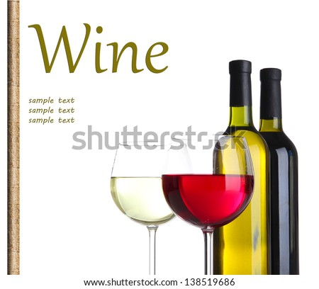 Glasses and bottles with red and white wine isolated on white - stock photo