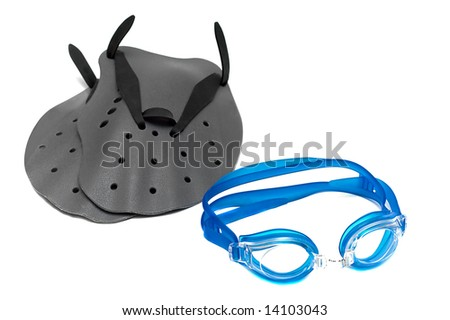 glasses and paddle for swim isolated on the white background