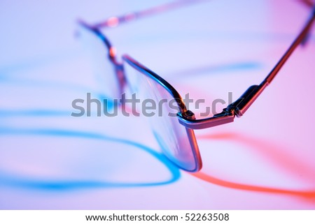 glasses closeup with  multicolored lights